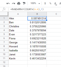 Generate a list of random number with a single formula RANDARRAY
