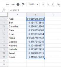 Random Number Generator in Sheets